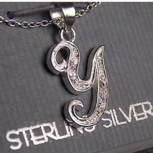 Sterling Silver Letter Y Charm Necklace Chain